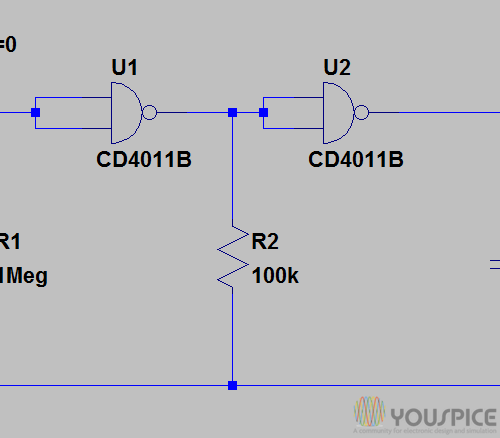 Astable Multivibrator With Cd4011 Youspice