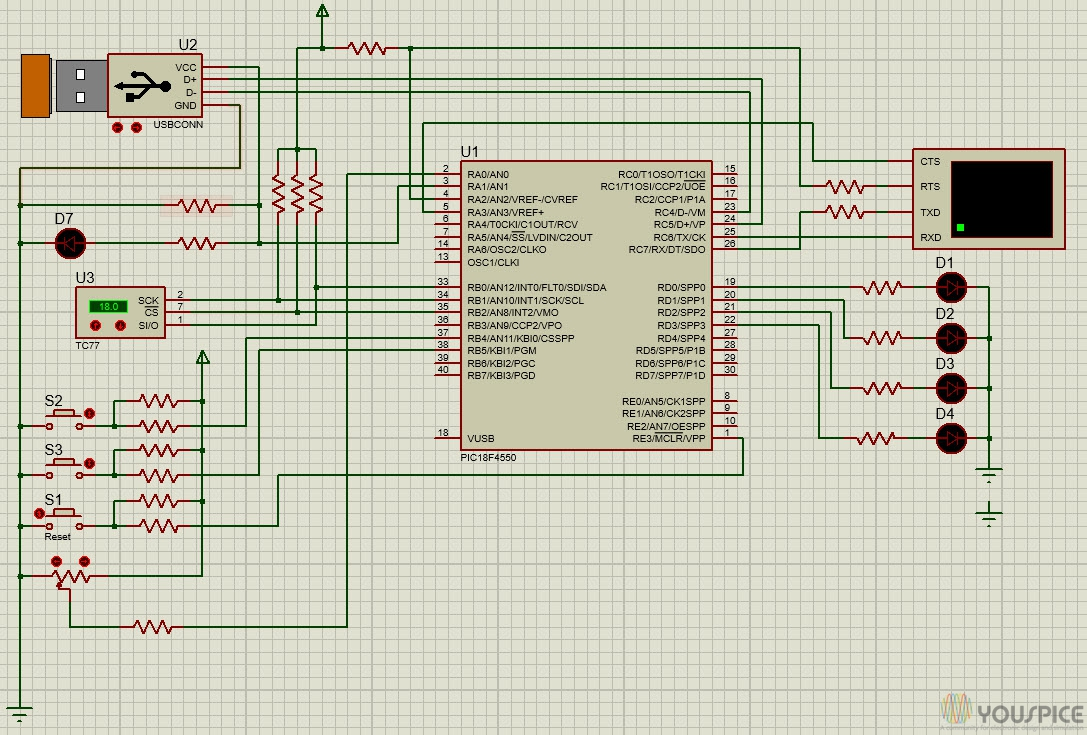 Board With Pic18f4550 Usb Peripheral Youspice 8051 Microcontroller Based Digital Alarm Clok Thermometer Circuit Run