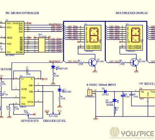 Heartbeat Monitor Circuit with LED and Photocell - YouSpice