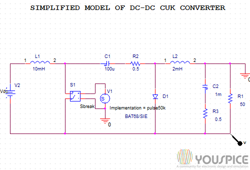 Simplified Model Of Dc Dc Cuk Converter Youspice