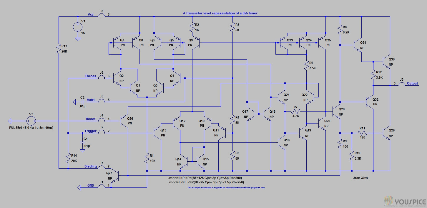 Transistors Representation of the timer 555 - YouSpice