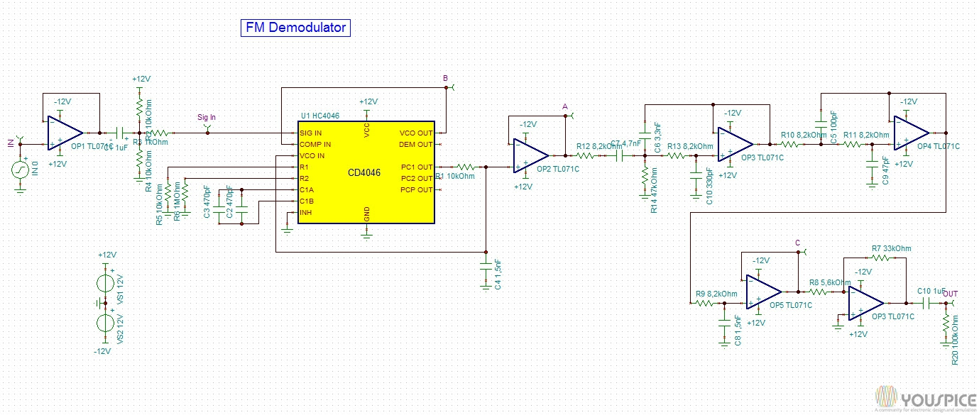 FM Demodulator with CD4046 - YouSpice input.