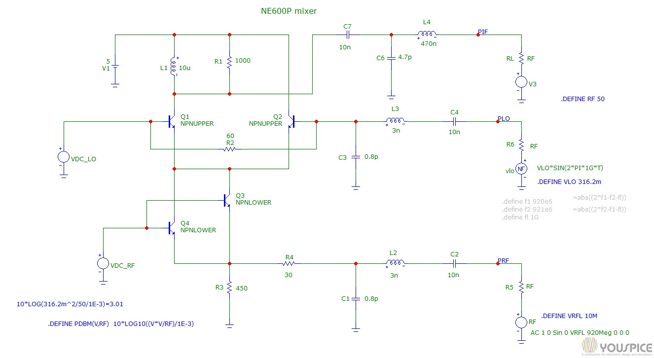 Spice Simulation Of Ne600p Mixer Circuit Youspice Double Led Flasher With 555 Timer And 4n25 Optocoupler