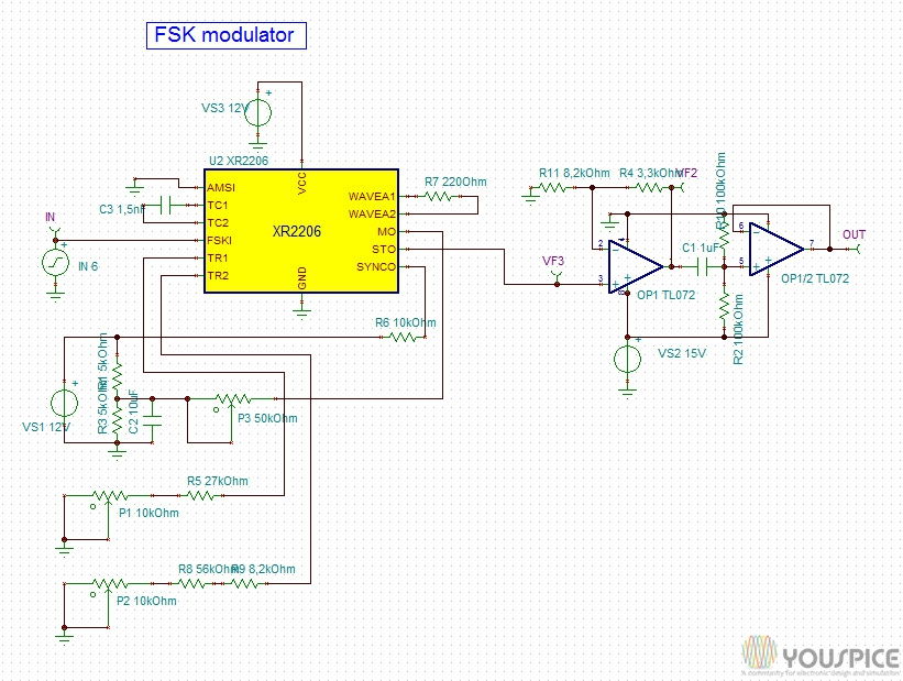Circuito Xr2206 : Fsk modulator with xr youspice