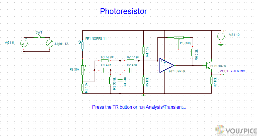 Switch Circuit Activated by a Photoresistor - YouSpice