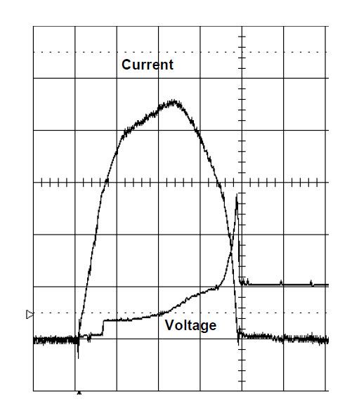 Fig. 3 Measured current and voltage waveforms for a 125A circuit-breaker operating in 54VDC test circuit with about 12kA prospective current and about 1ms prospective time constant; 1kA/div current, 50V/div voltage and 0.5ms/div.