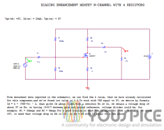 Enhanced mode MOSFET biased with 4 resistors