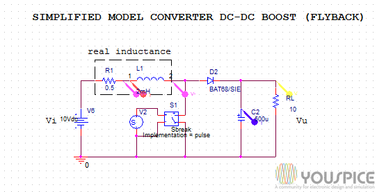 Simplified Model Of Dc Dc Converter Boost Flyback Youspice