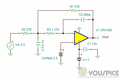 100KHz Low Pass Filter with Low DC Offset - YouSpice
