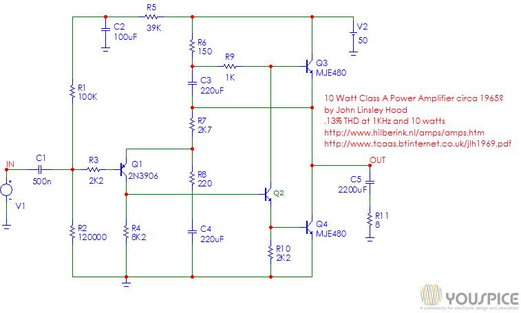 10 watt linsley amplifier with single power supply youspice10 watt linsley amplifier with single power supply
