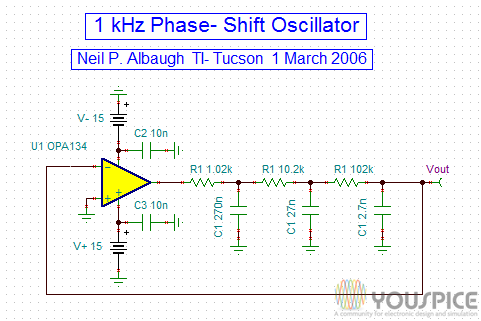 1 Khz RC Phase Shift Oscillator - YouSpice