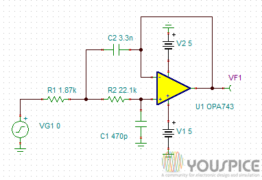 20 KHz Second Order Low Pass Filter - YouSpice