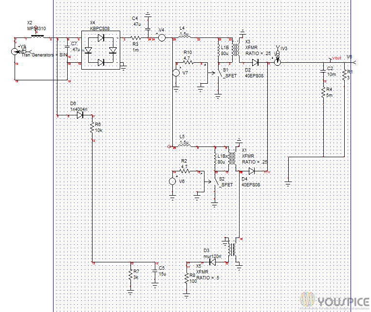 2-phase Voltage-mode Flyback Converter - YouSpice