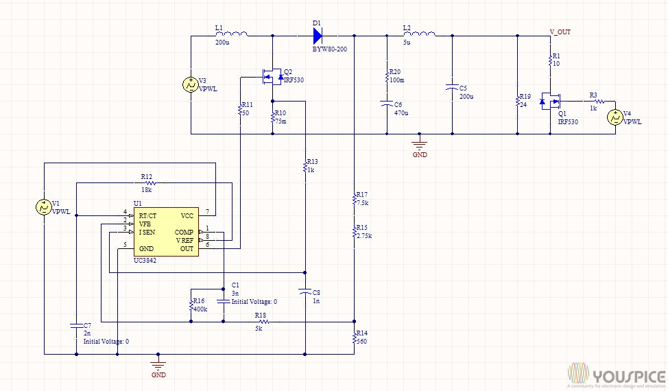 UC3842 DC-DC Boost converter - YouSpice