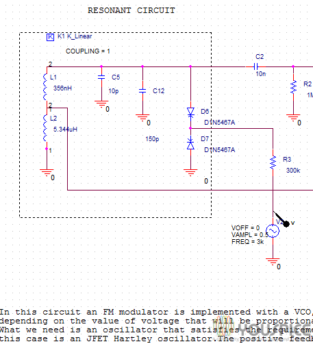 FM Modulator with VCO implemted with JFET Hartley Oscillator and Varactor