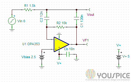 Second Order Low Pass Filter with Zero DC Offset - YouSpice
