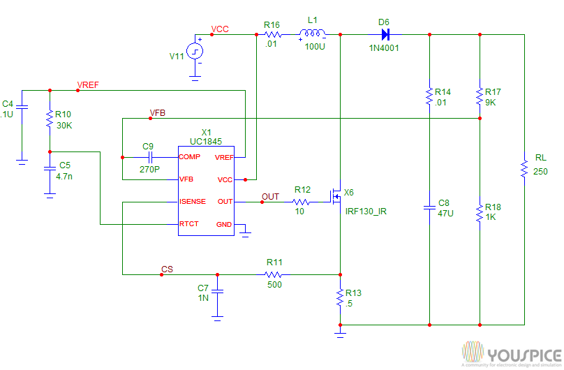 UC1845 DC to DC current mode switching supply - YouSpice