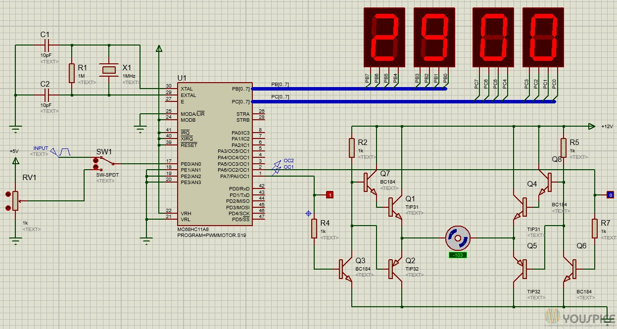 Pwm Motor Controller With Motorola Mc68hc11a8 Youspice Batterychargercontroller Controlcircuit Circuit Diagram Clockwise Spin