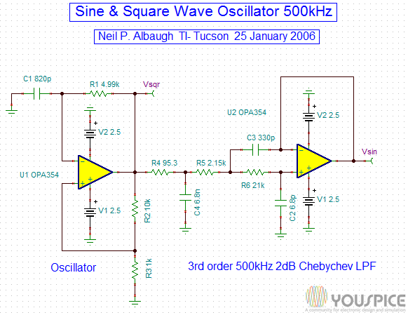 500 Khz Sine and Square Wave Oscillator - YouSpice