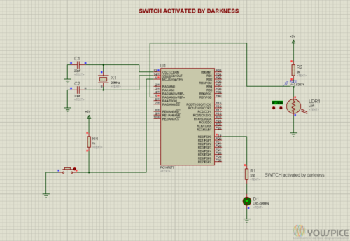 Switch activated when the light decreases and voltage rises