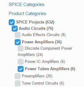 Select Spice circuits categories