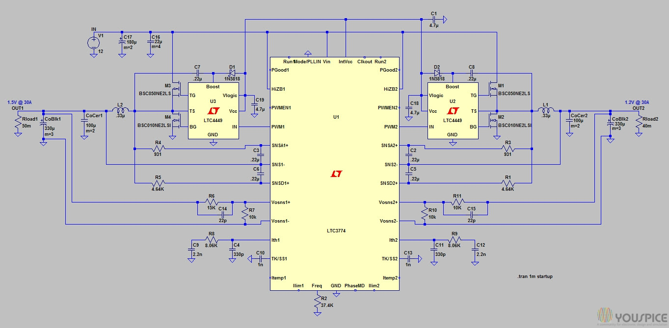 Dual Step Down Regulator Youspice Lm741 A D Converter The Circuit Shown Is An 8 Bit Binary Output Voltages Transient