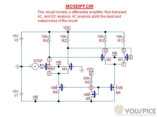 Differential Amplifier with NMOSFET - YouSpice
