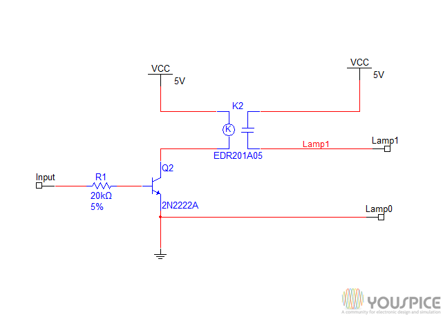 relay turns on/off a 5V lamp