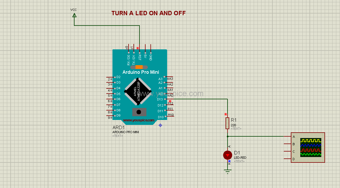 The same project using ARDUINO Pro Mini simulation model