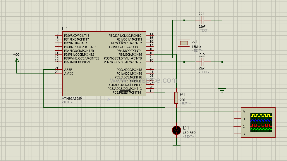 Simple project implemented with a microcontroller model